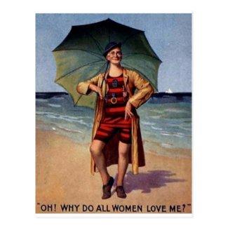 funny vintage man sea bathing suit umbrella poster postcard