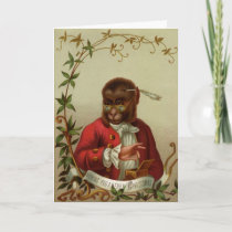 Funny Vintage Monkey Merry Christmas Holiday Card