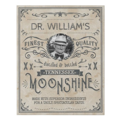 Funny Vintage Moonshine Hillbilly Medicine Custom Faux