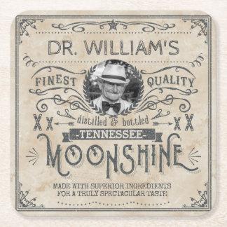 Funny Vintage Moonshine Hillbilly Medicine Custom Square Paper Coaster