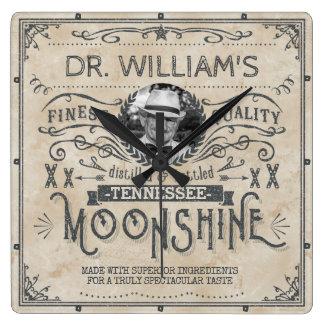 Funny Vintage Moonshine Hillbilly Medicine Custom Square Wall Clock