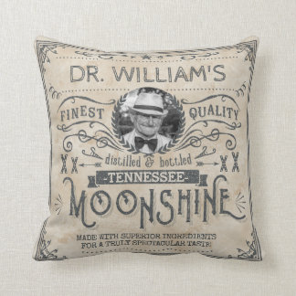 Funny Vintage Moonshine Hillbilly Medicine Custom Throw Pillow