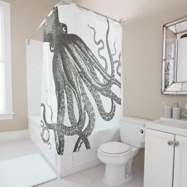 Funny Vintage Octopus Tentacles Wrapping Around Shower Curtain | Zazzle