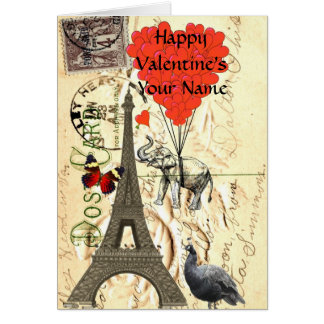 Funny  vintage Paris Valentine's Greeting Card