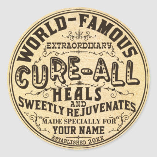 Funny Vintage Personalized Cure All Classic Round Sticker