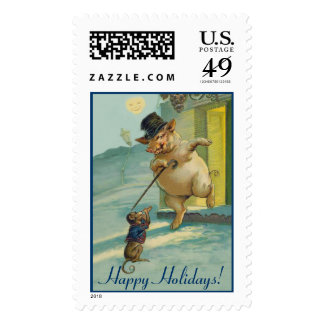 Funny Vintage Pig and Monkey - Cute Animal Holiday Stamp