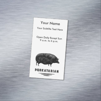 Funny Vintage Pig Bacon Lover Humor Magnetic Business Cards (Pack Of 25)
