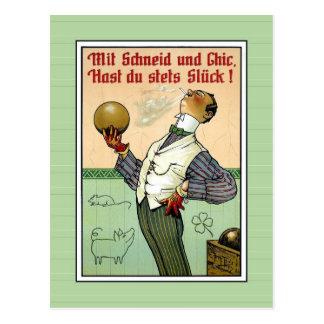 Funny vintage posh snob bowler illustration postcard