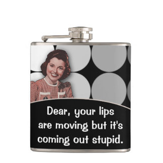 Funny Vintage Retro Lady Flask