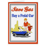 Funny vintage retro Save Gas pedal car ad Card