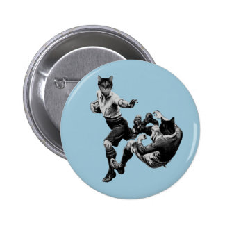 funny vintage rugby playing cats pin