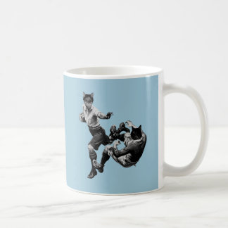 funny vintage rugby playing cats coffee mug