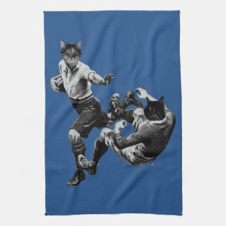 funny vintage rugby playing cats hand towel