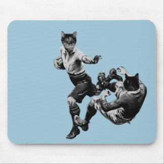 funny vintage rugby playing cats mouse pad
