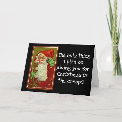 Funny Vintage Santa Holiday Card