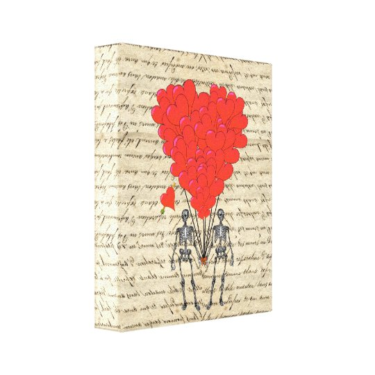 Funny vintage Skeleton and red heart Canvas Print