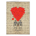 Funny vintage Skeleton and red heart Greeting Cards