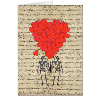Funny vintage Skeleton and red heart Card