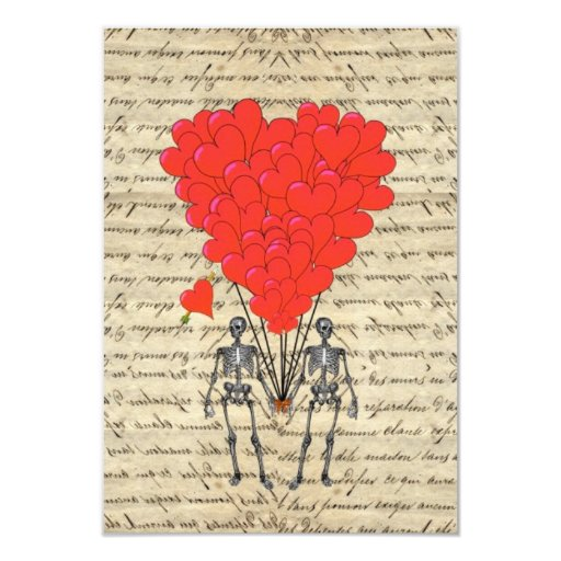 Funny vintage Skeleton and red heart Invites