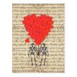 Funny vintage Skeleton and red heart Post Cards