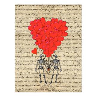 Funny vintage Skeleton and red heart Postcard