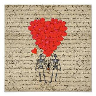 Funny vintage Skeleton and red heart Poster