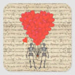 Funny vintage Skeleton and red heart Square Stickers