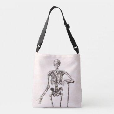 Halloween Themed Funny Vintage Skeleton Crossbody Bag