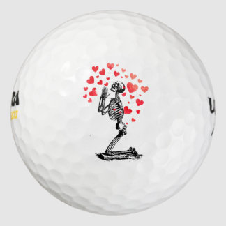 Funny Vintage Skeleton Love Hearts Golf Balls