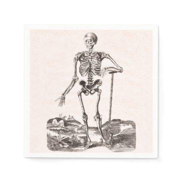Halloween Themed Funny Vintage Skeleton Napkin