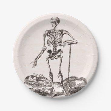 Halloween Themed Funny Vintage Skeleton Paper Plate