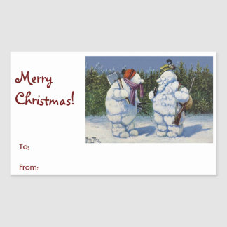 "Funny Vintage Snowmen ""Merry Christmas"" Gift Rectangular Sticker"