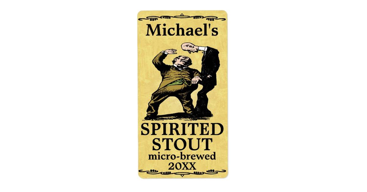 Funny Vintage Spirited Stout Beer Label Zazzle Com