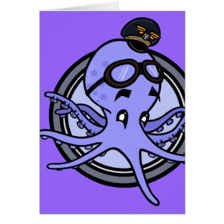 FUNNY VINTAGE STYLE OCTOPUS GREETING CARD