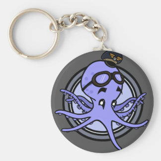 FUNNY VINTAGE STYLE OCTOPUS PILOT ROUND KEY CHAIN