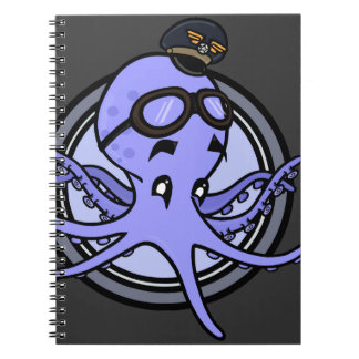 FUNNY VINTAGE STYLE OCTOPUS PILOT SPIRAL NOTEBOOK