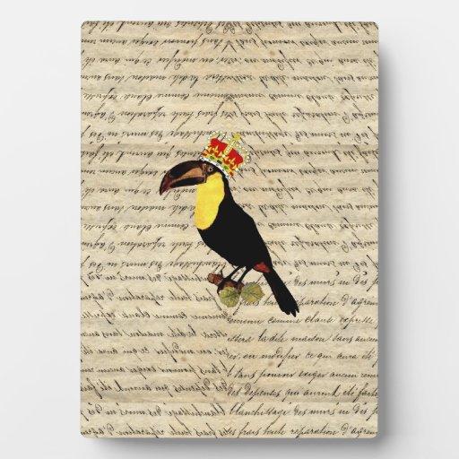 Funny vintage toucan & crown display plaque