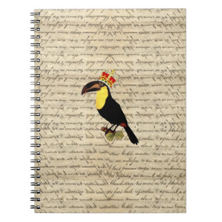 Funny vintage toucan & crown spiral notebooks