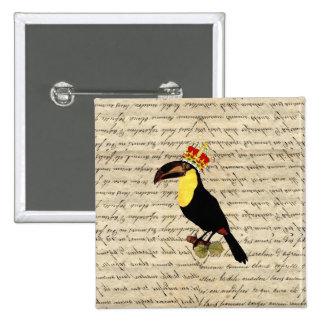 Funny vintage toucan & crown pinback button