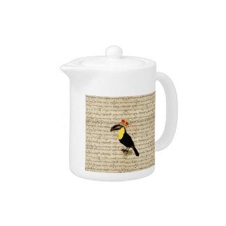 Funny vintage toucan & crown teapot