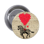 Funny vintage zebra & heart balloons 2 inch round button