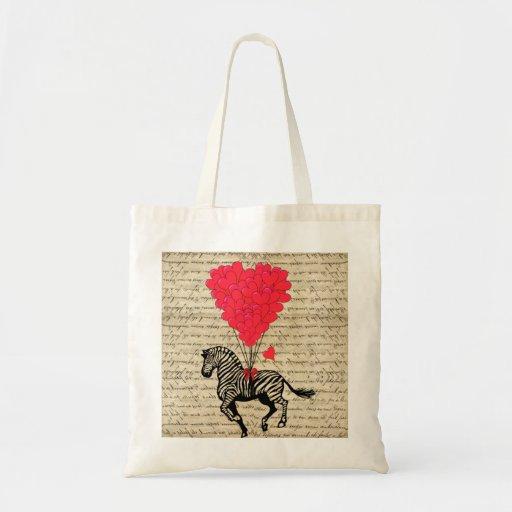 Funny vintage zebra & heart balloons bags