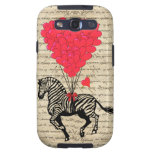 Funny vintage zebra & heart balloons samsung galaxy SIII cover