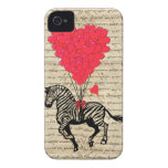 Funny vintage zebra & heart balloons iPhone 4 cover