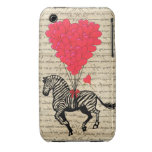 Funny vintage zebra & heart balloons Case-Mate iPhone 3 cases