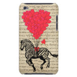 Funny vintage zebra & heart balloons iPod Case-Mate cases