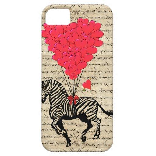 Funny vintage zebra & heart balloons Case-Mate blackberry case