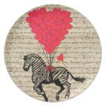 Funny vintage zebra & heart balloons dinner plates