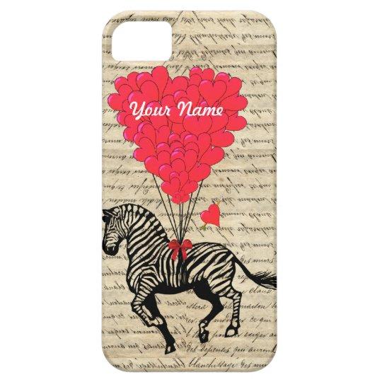 Funny vintage zebra & heart balloons iPhone SE/5/5s case