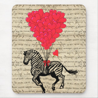 Funny vintage zebra & heart balloons mouse pad